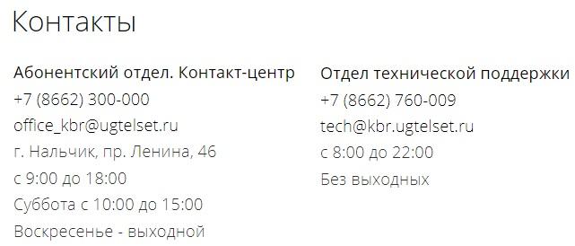 ЮгТелСет контакты